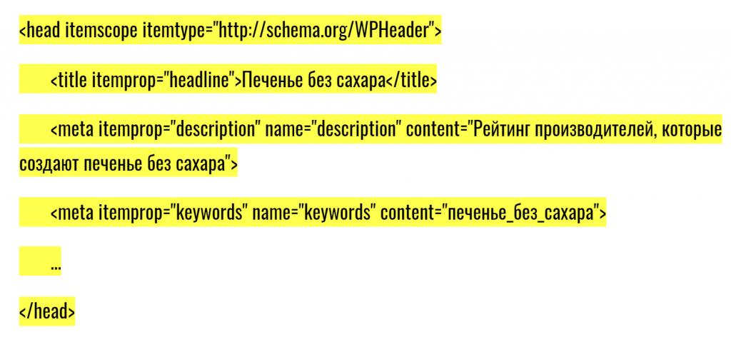 Пример семантической разметки schema.org для хедера сайта