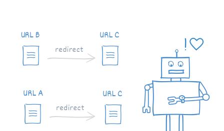 А здесь робот доволен — редирект сделан правильно
