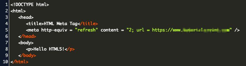 Пример кода тега meta refresh с задержкой перенаправления 2 секунды